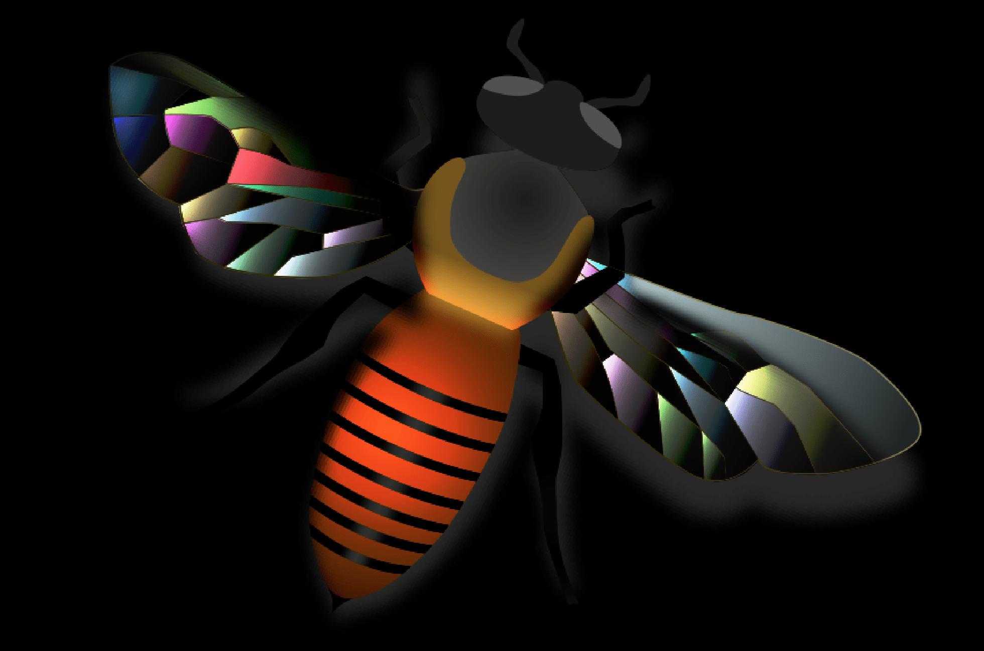 Getekende bij met bonte vleugels op zwarte achtergrond.