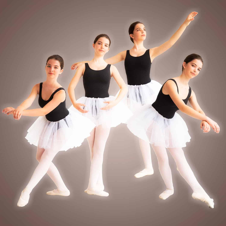 Compositie van een balletmeisje in verschillende poses.