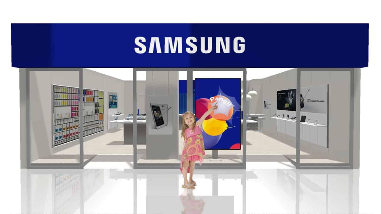 Samsung interactive scherm met ballonen die je kunt laten ploffen.
