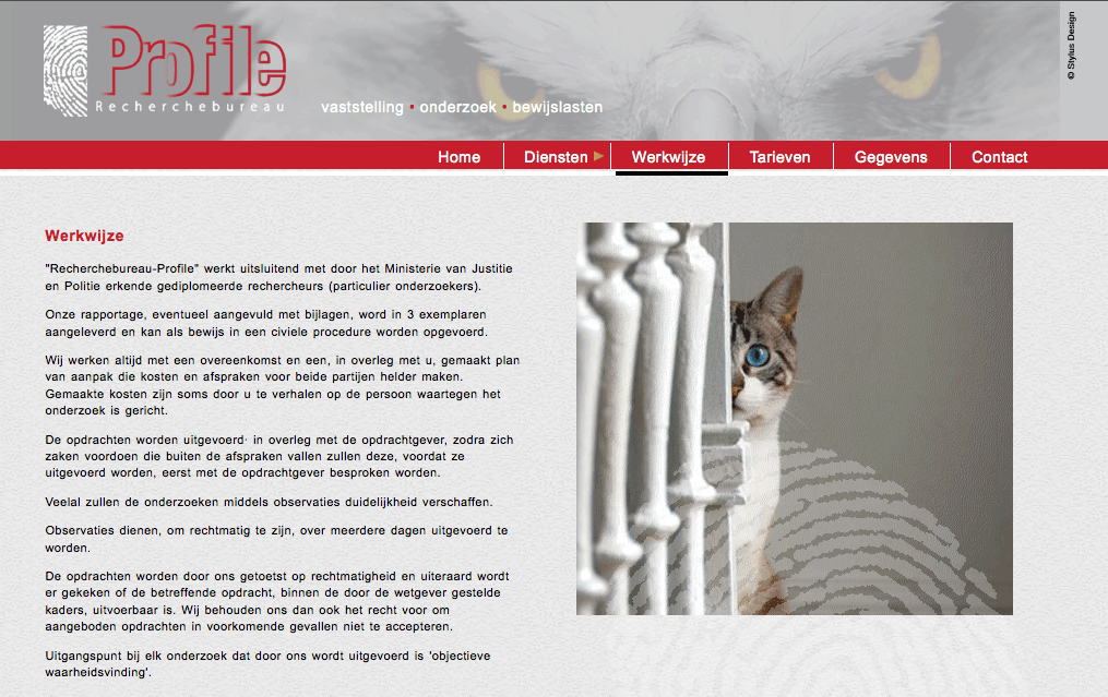 Website Profile Recherchebureau gemaakt door Stylus Design.