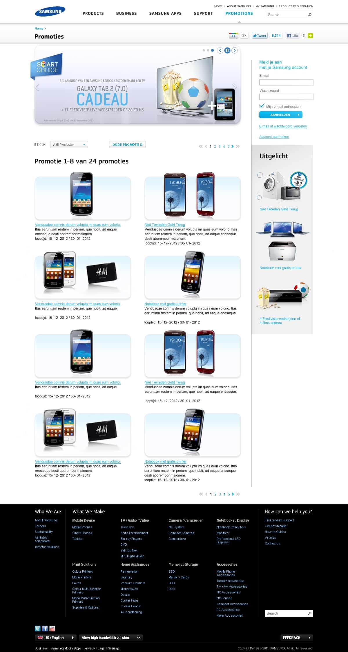 Ontwerp voor promo website pagina voor de verkoop van Samsung telefoons.