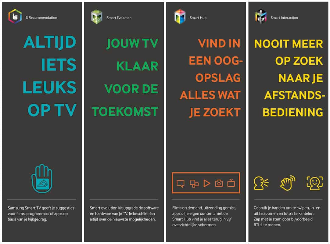Ontwerp voor de uitingen van de Smart TV van Samung door Stylus Design.