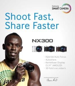 Samsung Smart Camera reclame voor de NX300 met Usain Bolt.