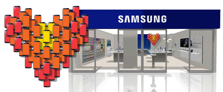 Samsung WINKELGEVEL. POS materiaal. Hart van telefoons die in de winkel hangt.